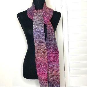 Handmade Crochet Scarf NWT pink purple blue